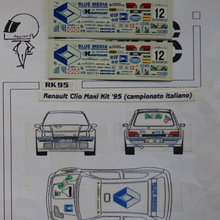 RK95 DECAL RENAULT CLIO MAXI - MEDEGHINI - RALLY CIOCCO 1995