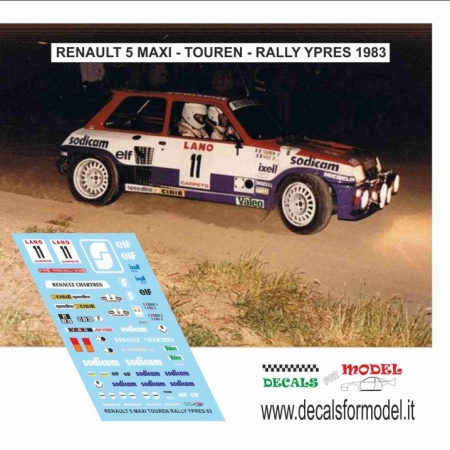 DECAL RENAULT 5 MAXI TURBO - TOUREN - RALLY YPRES 1983