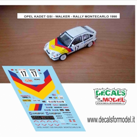 DECAL OPEL KADET GSI - WALKER - RALLY MONTECARLO 1990
