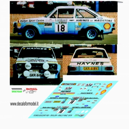 DECAL FORD ESCORT MK - TAYLOR - RALLY RAC 1979