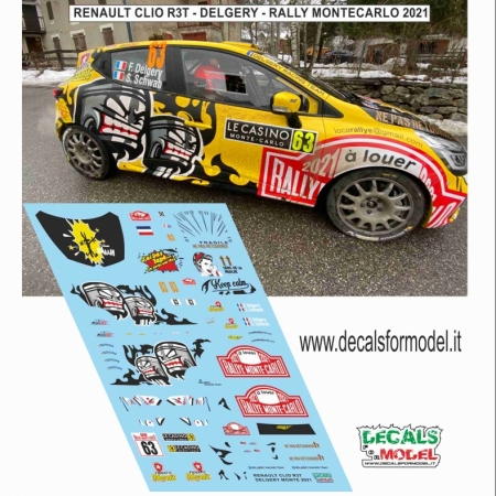 DECAL RENAULT CLIO R3T - DELGERY - RALLY MONTECARLO 2021