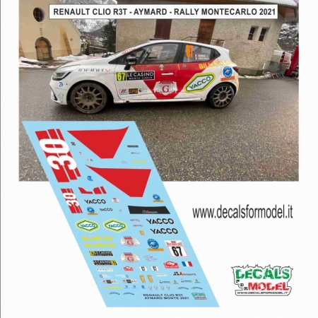 DECAL RENAULT CLIO R3T - AYMARD - RALLY MONTECARLO 2021