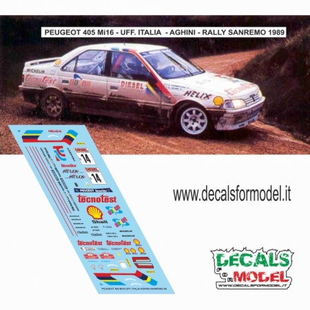 DECAL PEUGEOT 405 MI16 - AGHINI - RALLY SANREMO 1989